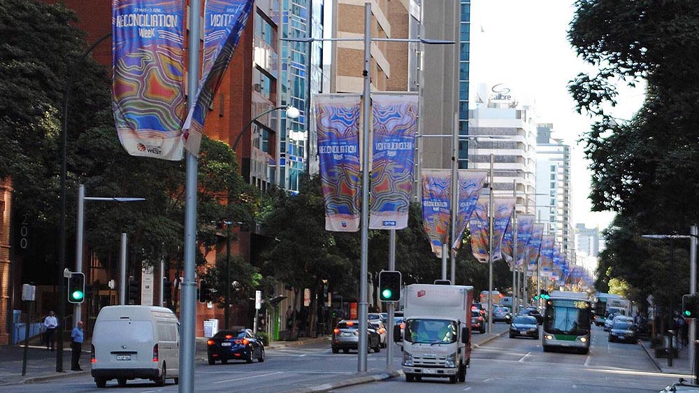 Street banners on St Georges Terrace, Perth