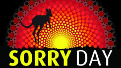 Sorry Day logo showing a sihouette of a kangaroo against a sun in Aboroginal colours
