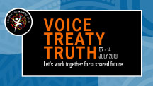 NAIDOC Week promotion with the words Voice, Treaty, Truth