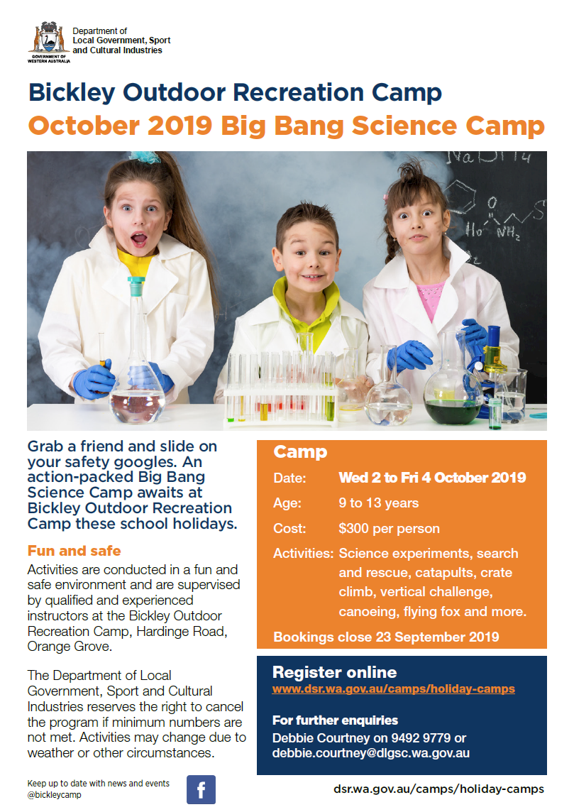 Bickley Outdoor Recreation Camp October 2019 Big Bang Science Camp flyer