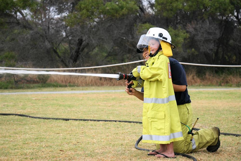 Fire fighter at the Woodman Point Open Day 2018