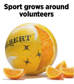 Sport grows around volunteers with a montage of a netbal cut like an orange.